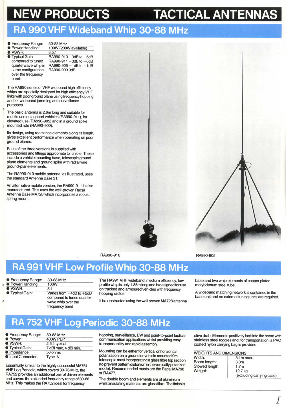 Racal Antenna Catalogue Whip Operating At Medium Wave Frequency Return To List